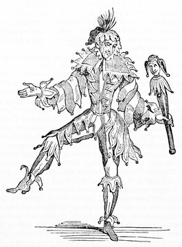Ancient Jester posing on one leg wearing his costume and holding a scepter. Old Illustration by unidentified author published on Magasin Pittoresque Paris 1834