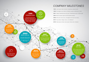 Circular Timeline Infographic with Intersecting Network Background