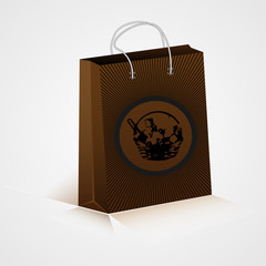 A shopping bag with the image of a basket with food, design, vector.