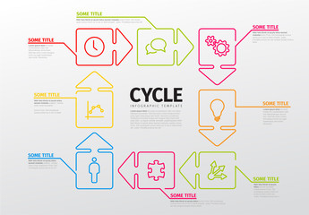 Cycle Infographic with Outlined Arrow Business Icons