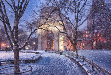 Snow over Washington Square Triumphal Arch