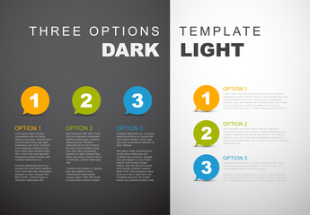 3 Step Circular Quote Bubbles Infographic with Dark and Light Sides