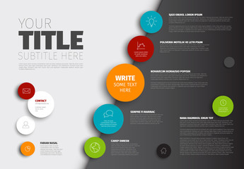 Light and Dark Diagonal Infographic with Colorful Circles