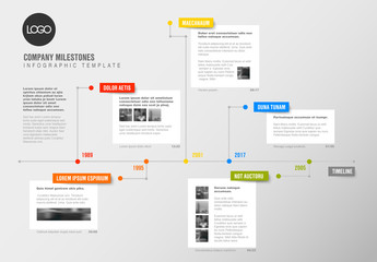 Timeline Infographic with Colorful Tabs and White Rectangular Text Boxes