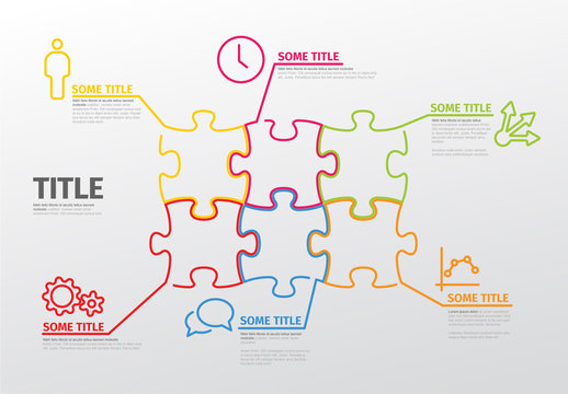 Puzzle Infographic with Colorful Outlines and Business Icons