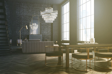 Gray and brick lving room and dining room toned