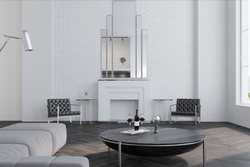 White living room, fireplace
