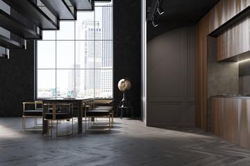 Dark wooden kitchen and dining room