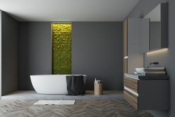 Gray bathroom, green wall
