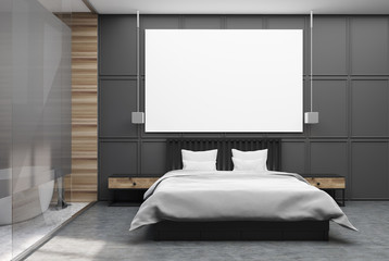 Gray and wooden bedroom poster