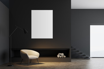 Minimalistic gray living room interior, poster