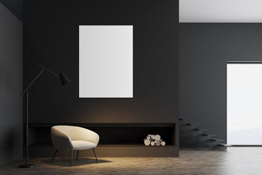 Minimalistic gray living room interior, poster