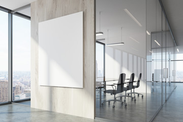 White wood office waiting area and conference room