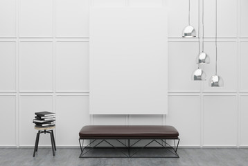 Bench in a white room with a poster