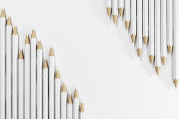 White pencils, top view