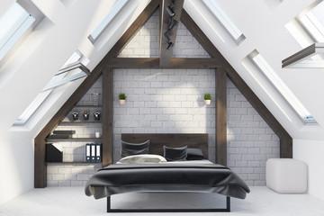Attic bedroom interior