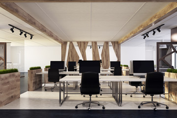 White office, wooden desks, black chairs