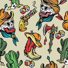 Wild west seamless pattern, old school tattoo vector. Classic flash tattoo style, patches and stickers. Fashionable western set. Cowboy, cactus, guns, wild west background