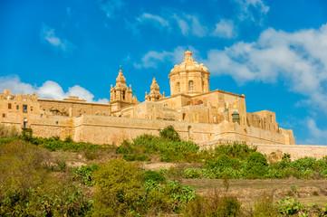 beautiful view of Saint Pauls Cathedral in Mdina, Malta