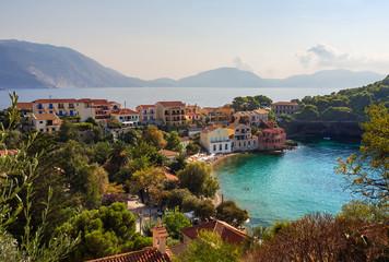 Fond de hotte en verre imprimé Nice Vacation on the Ionian Sea in Greece