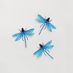 Garden Poster Surrealism Three Dragonflies