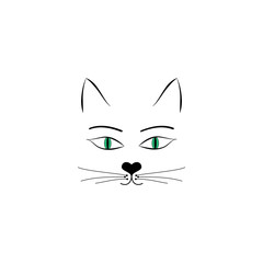 Head cat sign on white background