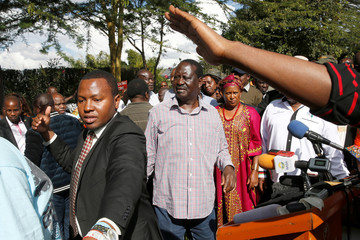 Kenyan opposition leader Raila Odinga of the National Super Alliance (NASA) coalition attends a news conference in Machakos County