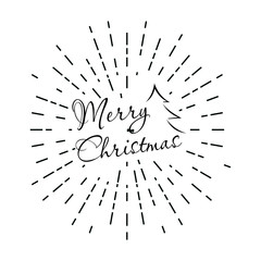 Lettering of Merry Christmas with retro sun rays Isolated on white background.