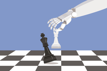 Robot Playing chess and Checkmate
