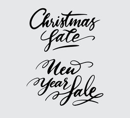 christmas and new year sale handwriting typography. Good use for logotype, symbol, cover label, product, brand, poster title or any graphic design you want. Easy to use or change color