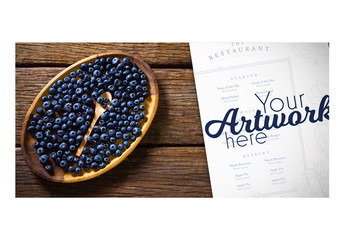 Top View Menu Mockup with Blueberries in Wooden Bowl