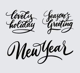 new year holiday handwriting typography. Good use for logotype, symbol, cover label, product, brand, poster title or any graphic design you want. Easy to use or change color