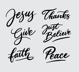 Jesus give faith and peace handwriting typography Good use for logotype, symbol, cover label, product, brand, poster title or any graphic design you want. Easy to use or change color