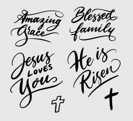 amazing blessed family, jesus love you handwriting typography. Good use for logotype, symbol, cover label, product, brand, poster title or any graphic design you want. Easy to use or change color