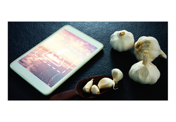 Tablet Mockup with Garlic Cloves