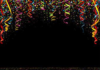 Happy New Year Colorful Confetti on Black Background - Festive Illustration, Vector