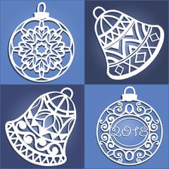 Set of openwork Christmas decorations
