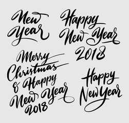 merry christmas and happy new year 2018 handwriting typography. Good use for logotype, symbol, cover label, product, brand, poster title or any graphic design you want. Easy to use or change color