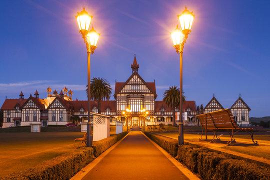 Rotorua Bath House Illuminated Twilight New Zealand