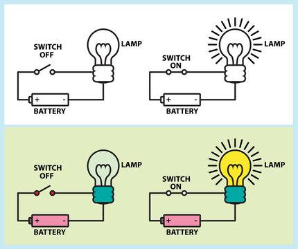 Electronic circuit of lighting lamp diagram