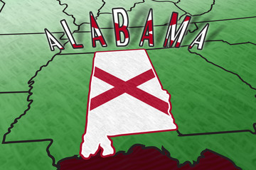 Alabama State Illustration in perspective USA map