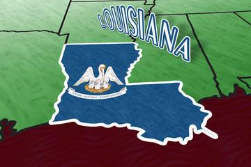Louisiana State Illustrationin perspective USA map