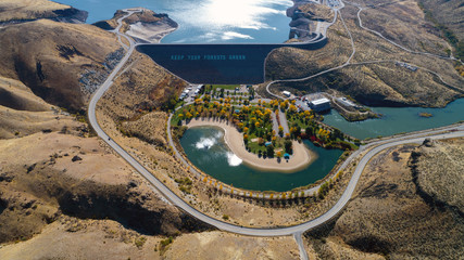 Lucky Peak Dam aerial view with fall colors