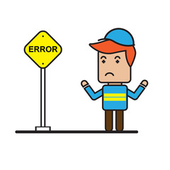 Worker with under construction sign , flat cartoon design