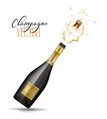 vector realistic champagne explosion
