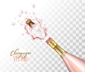 vector realistic pink champagne explosion closeup