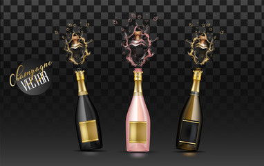 vector realistic champagne explosion set
