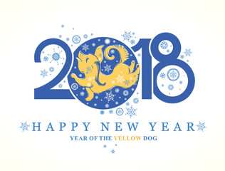 Dog 2018 symbol on the Chinese calendar. Cute puppy catches snowflakes. Year of the Yellow Dog. Vector template for New Year's design.