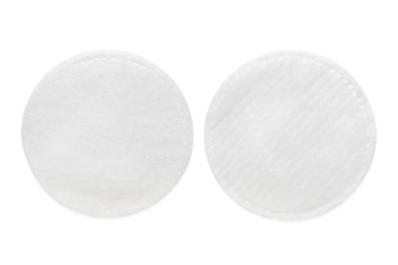 Two sides of cosmetic pad isolated on white with clipping path