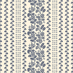 Indigo block printed seamless ornament. Vector ethnic floral pattern, Russian folk motif with leaves, vines and stripes of blocks, navy blue on ecru background. Textile print.